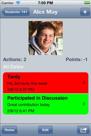 Teacher's Assistant Pro: Track Student Behavior ($6.99) Teacher's Assistant Pro allows teachers to keep track of student actions, behavior, infractions, and achievements in the classroom. Communicate quickly and easily with parents and your administration by documenting student classroom habits and behaviors and sending reports via email or making a call right from your iPhone.