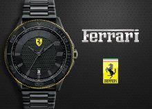 A Ferrari rajongók kötelező kiegészítője – fekete Ferrari Scuderia karóra mutatós logóval