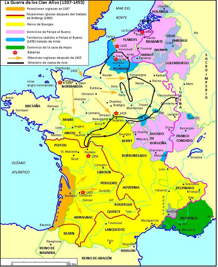 Mapa de la Guerra de los Cien años.