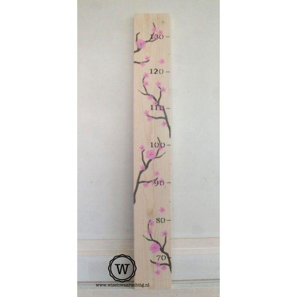 Meisjes groeimeter met bloesem| Uniek ontwerp