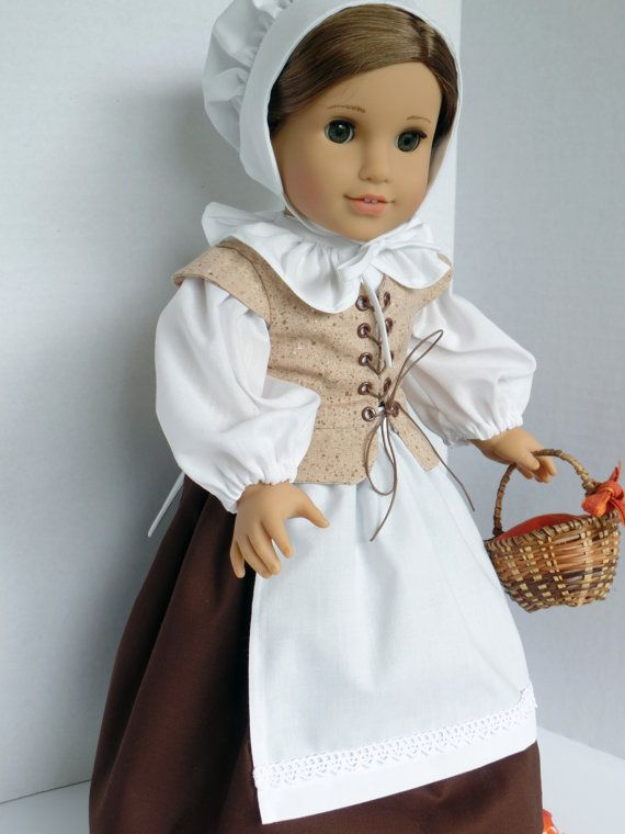 Pilgrim Costume Will Fit American Girl Doll by PeppersDollClothes