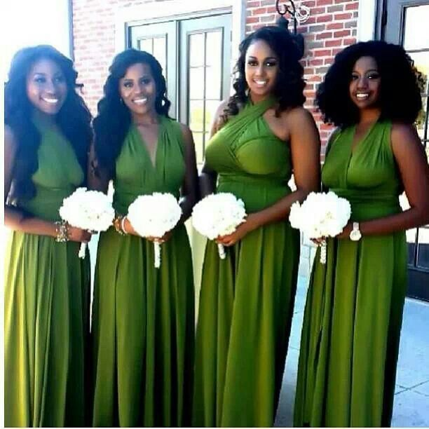 Lime green or grass green briadsmaid dresses