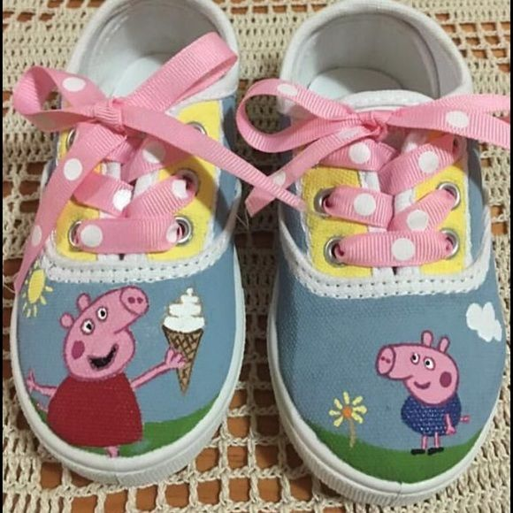 Peppa Pig customized hand painted shoes I can customized any shoe with your favorite character or design. Shoes Sneakers