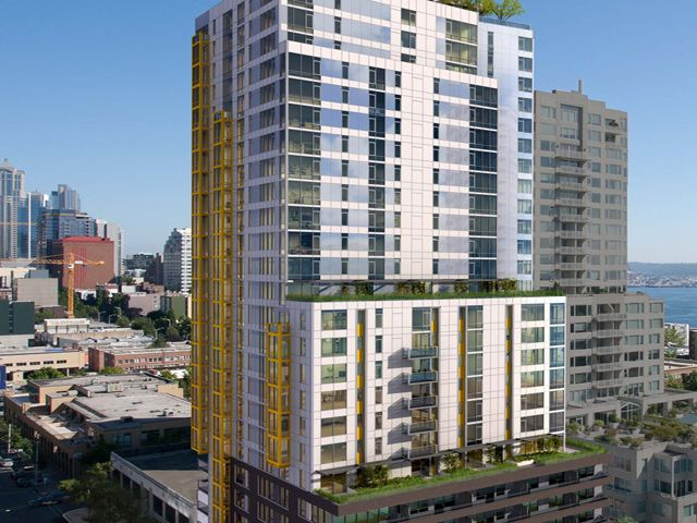Wood partners under construction on high rise apartment Downtown seattle apartments