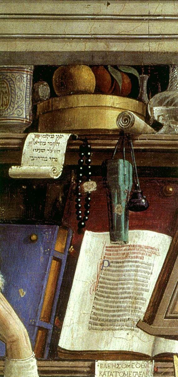 Domenico GHIRLANDAIO. St Jerome in his Study  1480  Fresco, 184 x 119 cm  Ognissanti, Florence