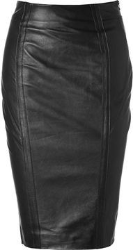 L'Agence LAgence Black Leather Skirt with Side Zip on shopstyle.com