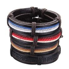 Fashion multicolor wax rope braided leather bracelet leather multi-level unisex free shipping(China (Mainland))