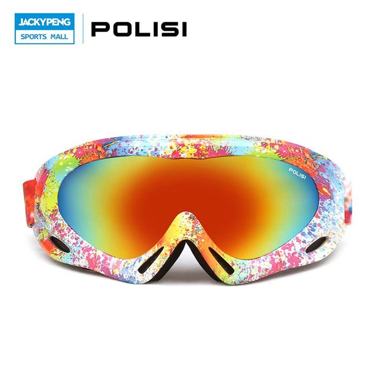 POLISI Men Women Ski Goggles Snow Skiing UV400 Spheral Anti-Fog Lens Eyewear Winter Windproof Snowboard Esqui Skate Glasses