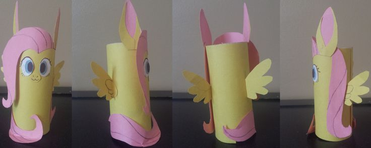 OMG! Fluttershy why do you have to be so cute?! No matter what people do with you, you are still cute! Anywho... this is something that I made of one of the characters form My Little Pony, Fluttershy. It is made out of a toilet paper roll and construction paper. I will actually be doing this will all the main characters; Twilight, Rainbow Dash, Rarity, Pinkie, and Applejack. Made on 10/10/2014 Art (c) Me/SkittyLover2012/Brianna Green Fluttershy (c) Hasbro My Little Pony (c) Hasbro/Lauren…