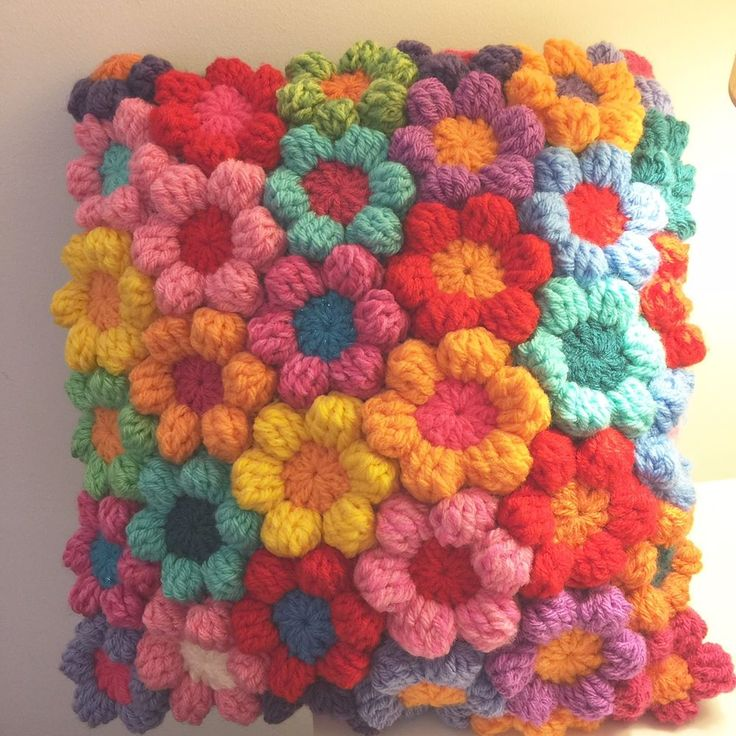 CUSHION, RAINBOW CROCHET FLOWERS, STUNNING.... HAND MADE
