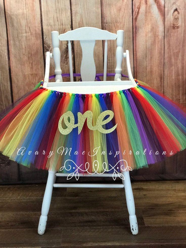 Rainbow High Chair Tutu Rainbow Highchair Tutu Rainbow First Etsy High Chair Tutu Rainbow First Birthday Tutus For Girls