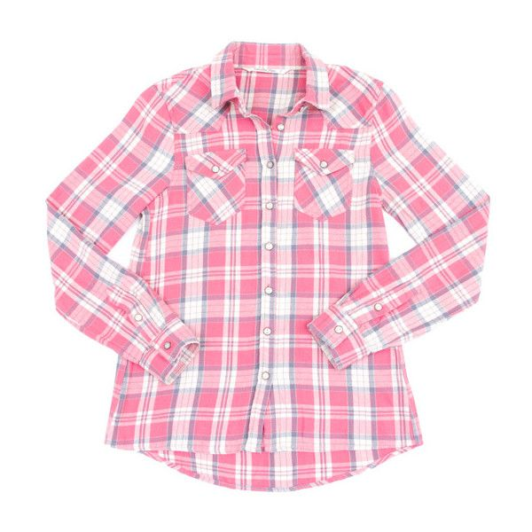 Vanilla Star Denim Coral Plaid Flannel Button-Up ($22) ❤ liked on Polyvore featuring tops, long shirts, pink flannel shirt, plaid button up shirts, long denim shirt and flannel shirt