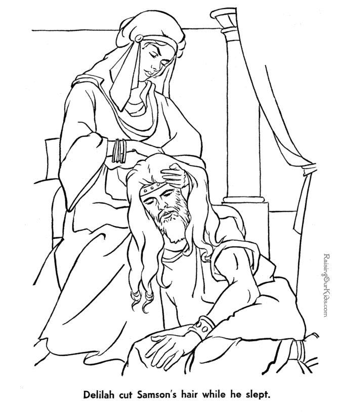 delilah cutting samsons hair while he sleeps bible coloring page - Samson Delilah Coloring Pages