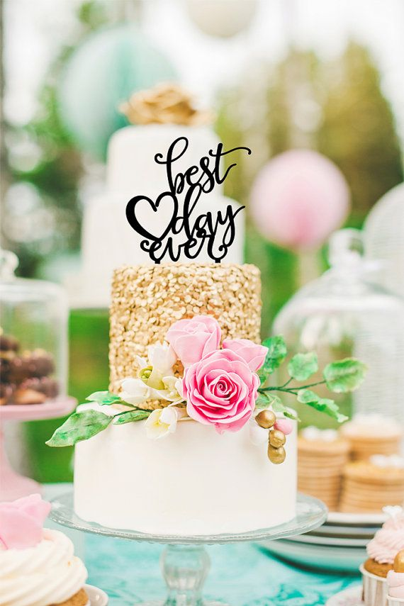 Wedding Cake Topper Best Day Ever Floating Topper Glitter Wedding Engagement Shower Cake Topper (Item - BDE900)