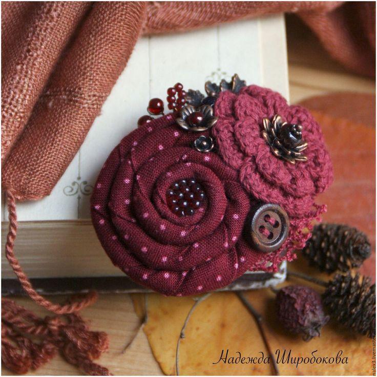 """Купить Брошь """"Сладкая ягодка"""" - бордовый, бордовая брошь, брошь букет, брошь с цветами"""