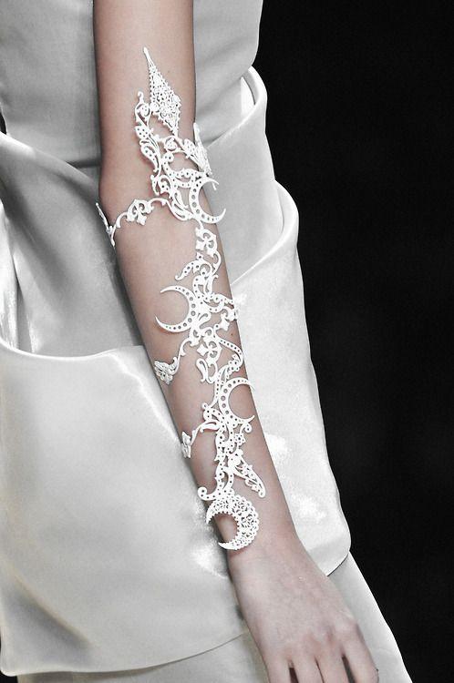Lasercut Cuff with intricate pattern - modern statement jewellery; arm adornment // Karl Lagerfeld