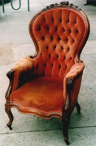 "A Velvet ""Gentleman's chair"" from circa 1888."