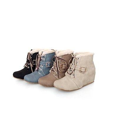 Черный / Синий / Бежевый / Хаки - Женская обувь - На каждый день - Замша - На танкетке - Модная обувь - Ботинки – RUB p. 2 515,43