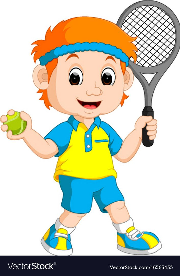 Illustration Of A Boy Playing Lawn Tennis Download A Free Preview Or High Quality Adobe Illustr Cartoon Clip Art Community Helpers Theme Art Drawings For Kids