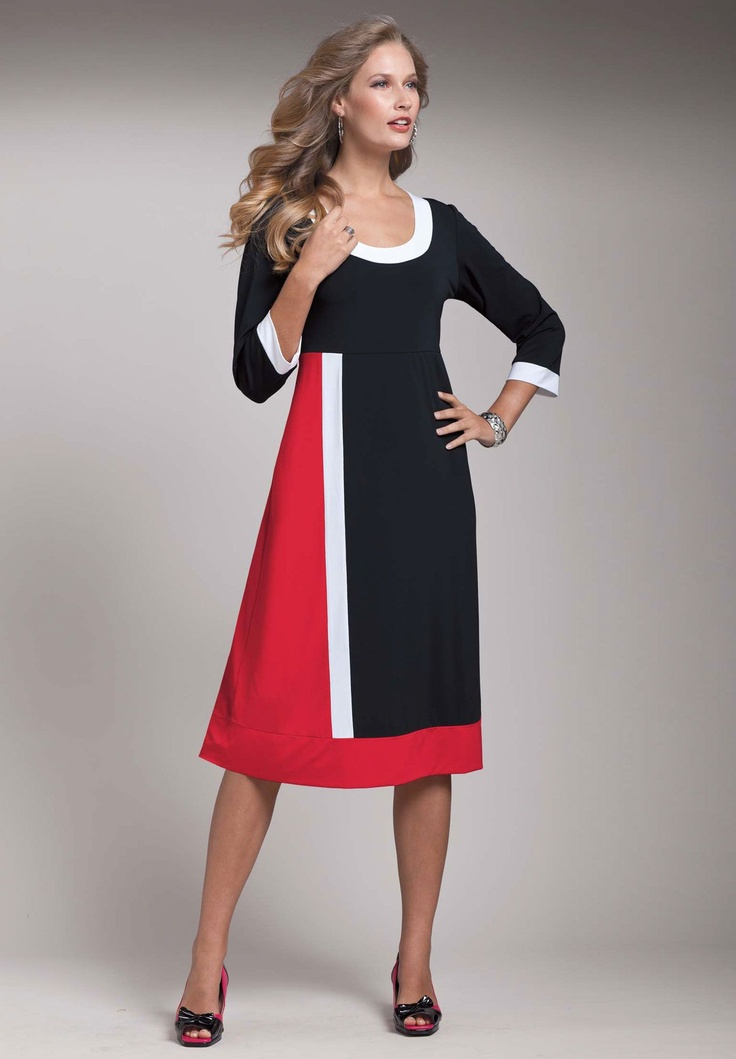 OSP - Roaman's - Colorblock Knit Shift Dress 34 $55