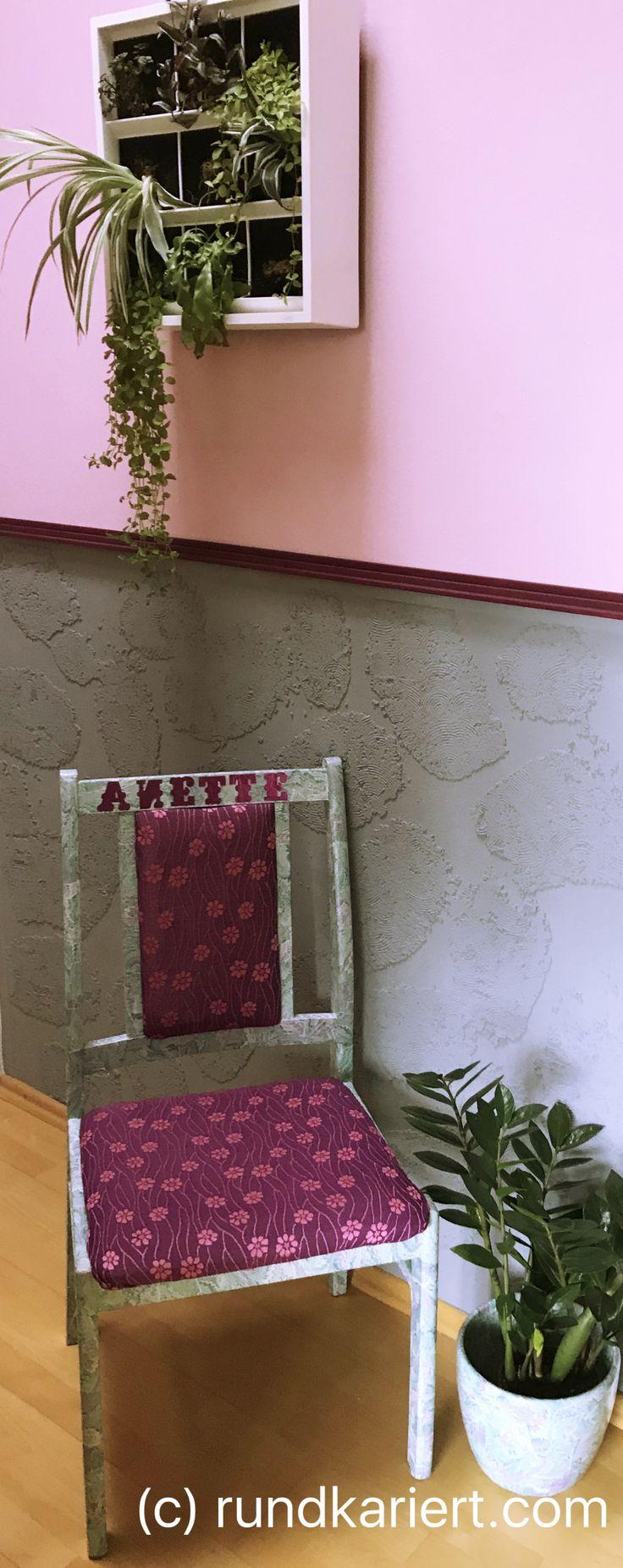 Stuhl Geschenkpapier Latex Decoupage