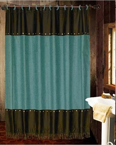 Cheyenne Tooled Turquoise Shower Curtain