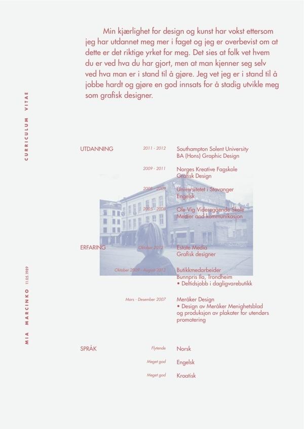 Curriculum Vitae by Mia Marcinko, via Behance