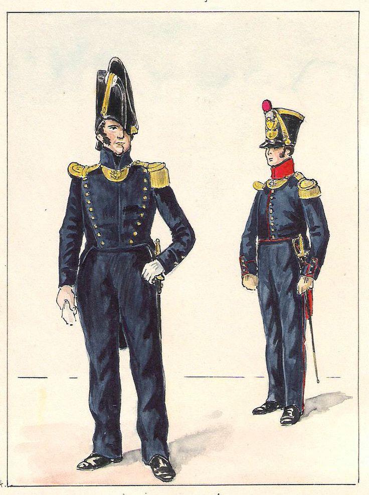 Equipage de ligne (gauche) Enseigne de vaisseau,Lieutenant de compagnie tenue de service (1825-1830 )(droite)Lieutenant d'infanterie de marine détaché comme instructeur  (1825-1827)