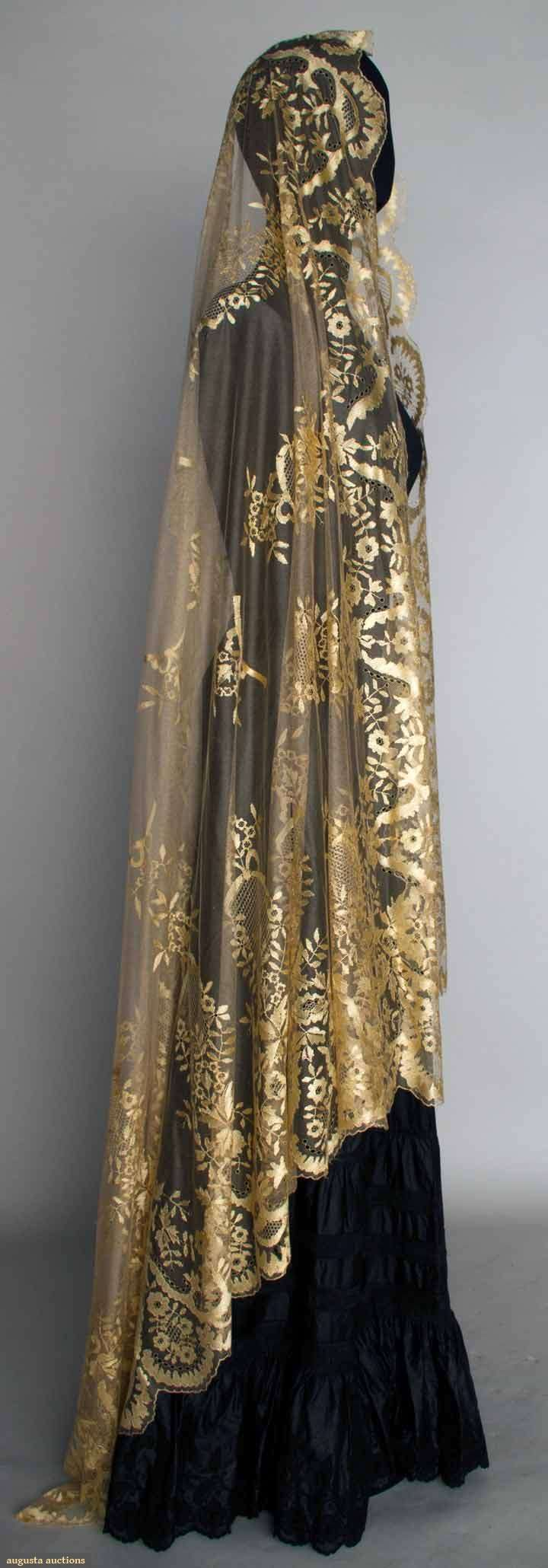 CREAM SILK LACE VEIL, MID 19TH C~Silk reseau w/ hand embroidered & drawnwork silk toile, design of flower garlands, bows, & drawnwork catouches