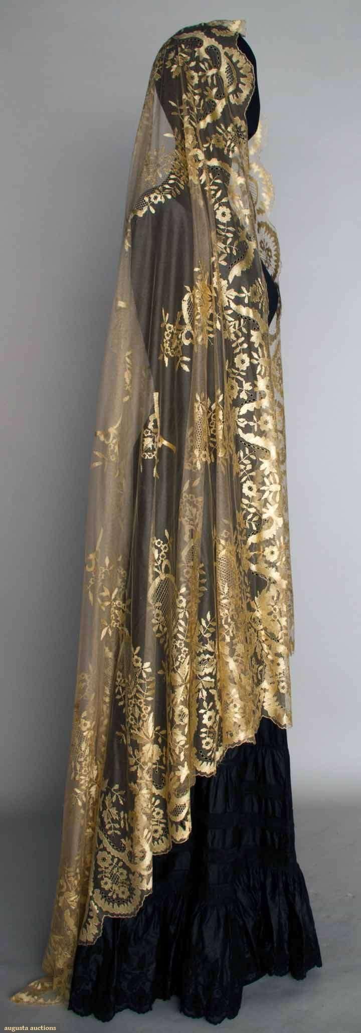 CREAM SILK LACE VEIL, MID 19TH C~Silk reseau w/ hand embroidered & drawnwork silk toile, design of flower garlands, bows, & drawnwork catouches
