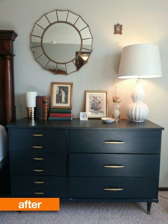 Before & After: Lettie's No Longer Looks Like Laminate Dresser (Dark navy paint and gold-sprayed refurbished hardware)