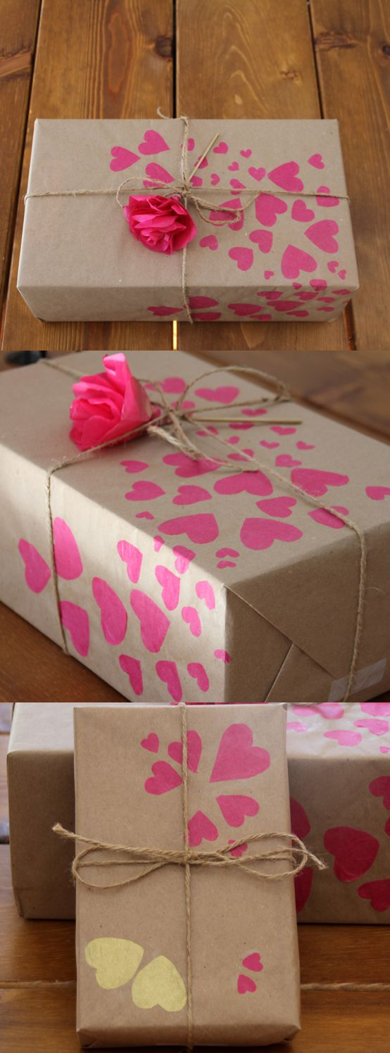 Valentines Day gift wrap with tissue paper rose