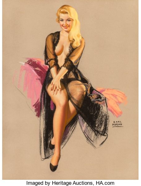 Mainstream Illustration, Earl Moran (American, 1893-1984). Men Want Open Spaces, Brown& Bigelow calendar illustration, November 1957. Pastel on...
