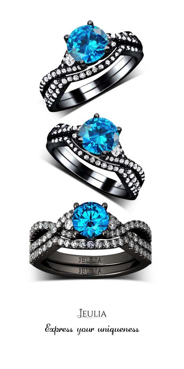 Jeulia Twist 1.0CT Round Cut Created Aquamarine Wedding Set #Jeulia