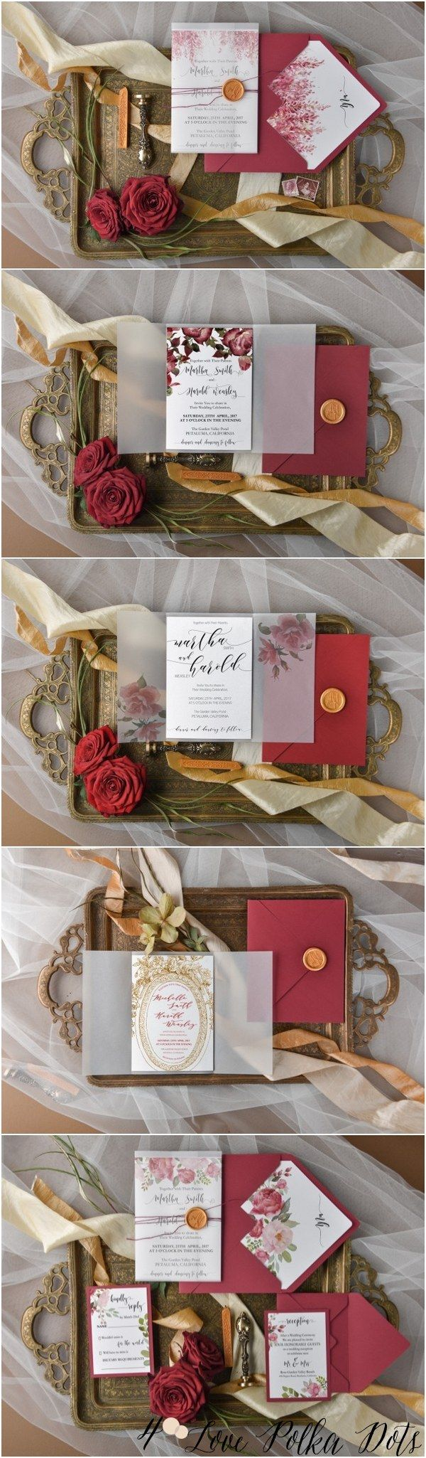 Burgundy and gold watercolor wedding invitations goldwedding