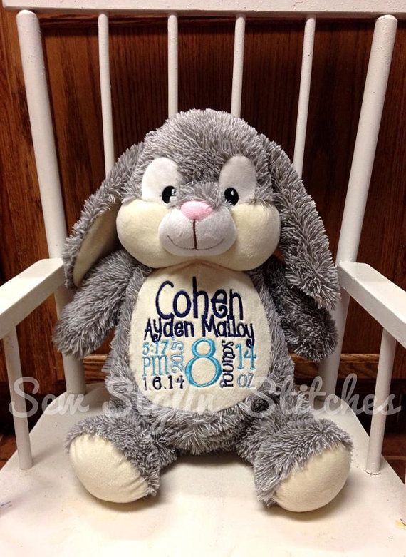 Personalized Stuffed Animal Monogrammed Baby Cubbie Baby Shower