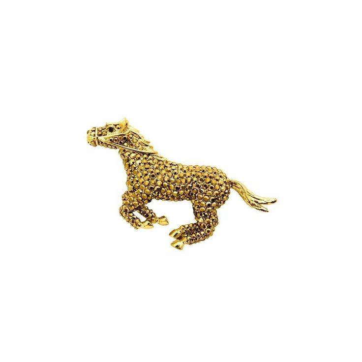 Butler & Wilson Gold Crystal Horse Brooch at aquaruby.com