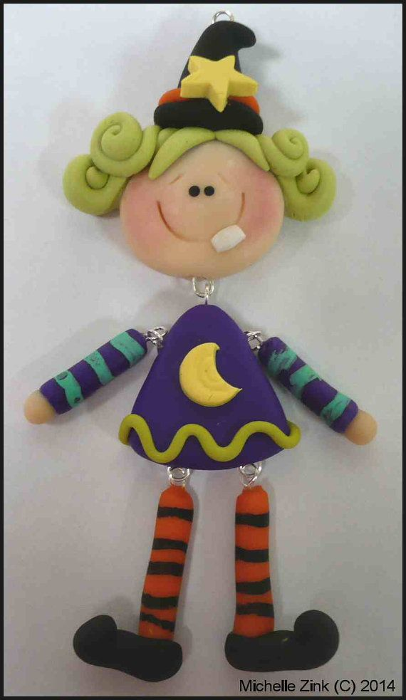 NEW Polymer Clay Pendant Witch with dangle by michellesclaybeads