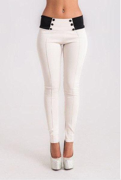 Skinny Buttons High Waist Slim Long Patchwork Pants