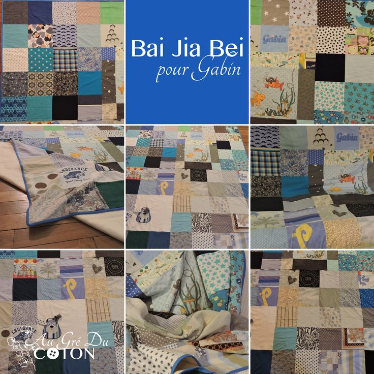 BAI JIA BEI Assemblé en Octobre 2015  Nombre de voeux : 90 Dimensions : 180 cm x 200 cm  Composition : Coton et flanelle de coton bio Couleur dominante : bleu  Evènement : Envie de lui dire qu'il est aimé ! #baijiabei