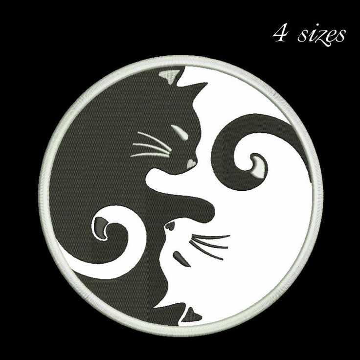 Ying-yang cat embroidery design digital download applique embroidery design by GretaembroideryShop on Etsy