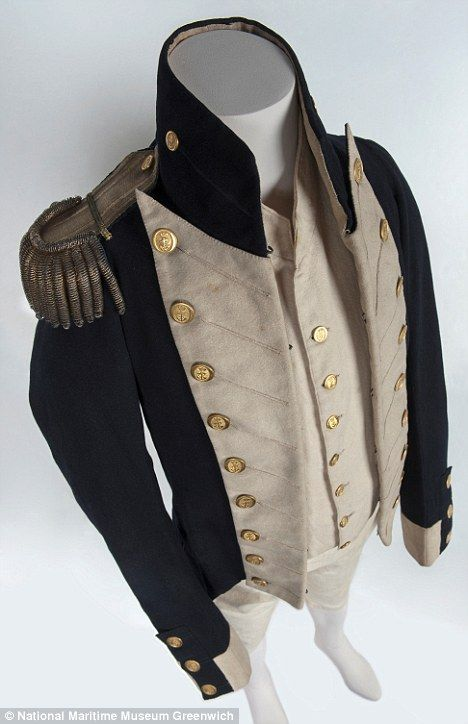 Rare: The blue and cream Navy uniform worn by Trafalgar survivor William Hicks is said to be the only one of its kind in existence