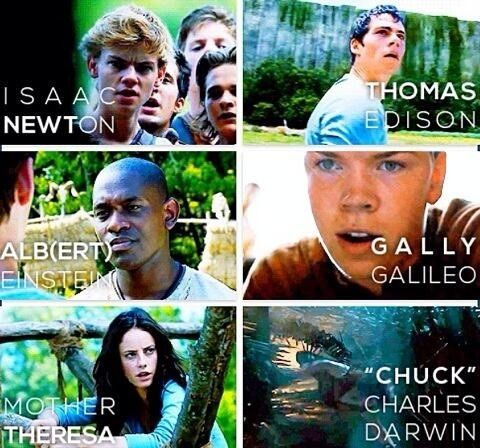 The Maze Runner. I actually figured all of these out besides chuck. Ben was probably named after Ben Franklin right?