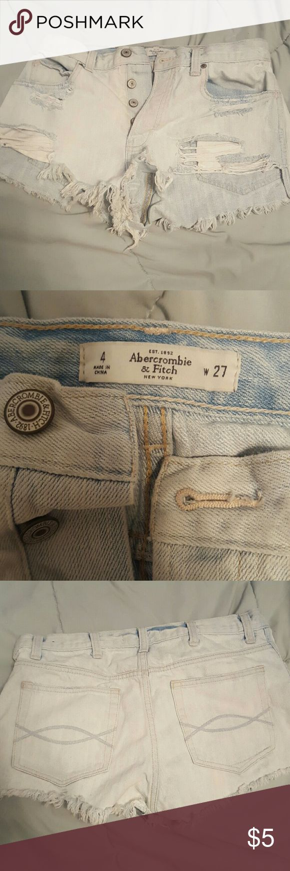 Abercrombie and fitch shorts Light blue, destroyed short shorts Abercrombie & Fitch Shorts Jean Shorts