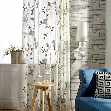Dois Painéis Rústico / Moderno Floral / Botânico / Folha Verde / Vermelho Quarto Poli/Mistura de Algodão Painel Cortinas cortinas 4475253 2016 – $69.69
