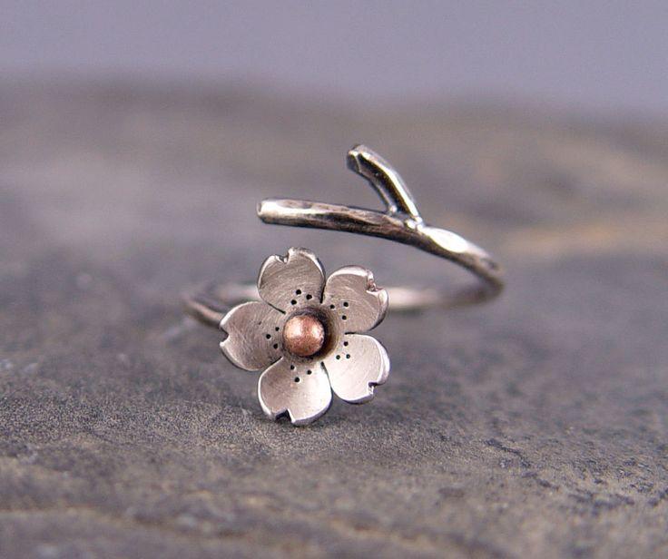Cherry Blossom Branch Adjustable Ring in Silver, $39.00, via Etsy.