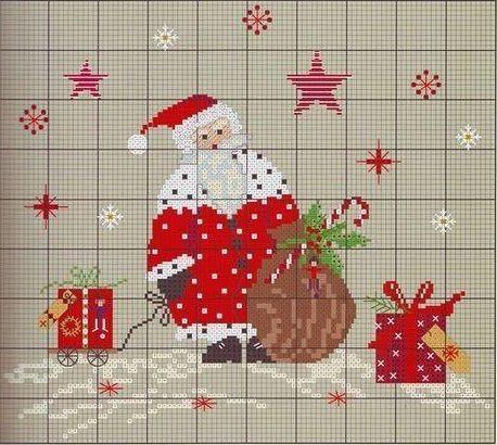 новогодний орнамент - елка, дед мороз и подарки