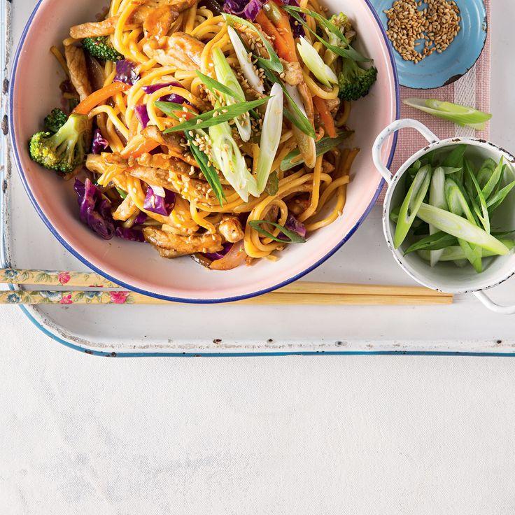 Hoisin Pork with Super-food Vegetables & Noodles for the whole family #Pork #Dinner #Noodles #Vegetables
