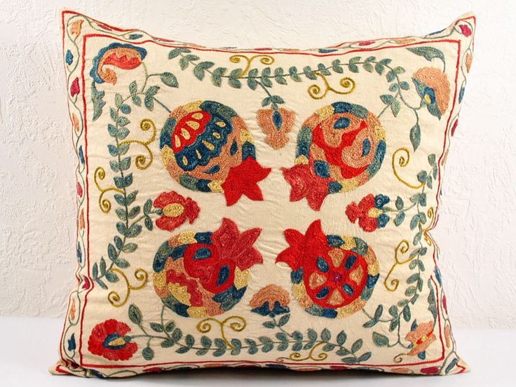 Uzbek Suzani | Hand Embroidered Uzbek Suzani Pillow Cover MSP102-2