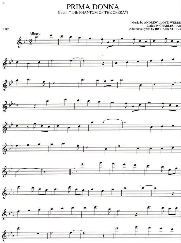 Free online flute sheet music - The Phantom of the Opera